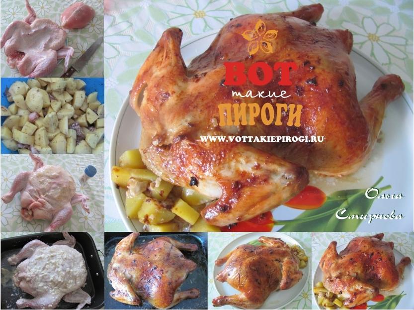Курица,фаршированная картофелем