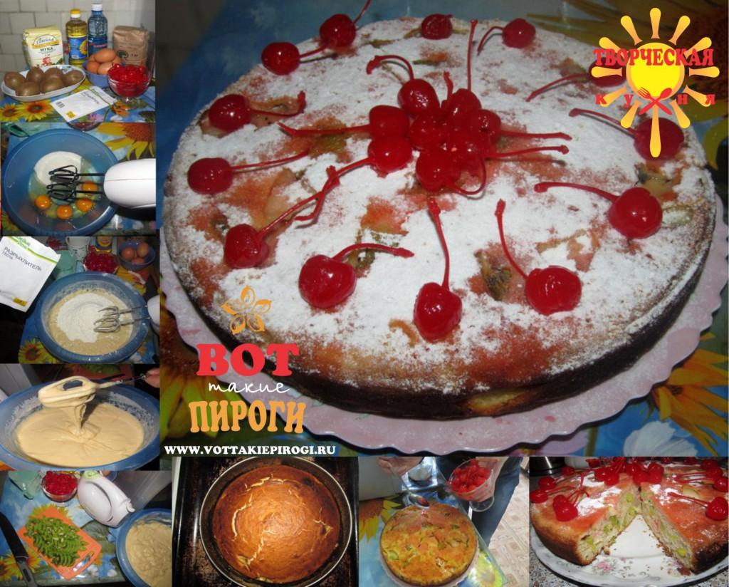 Пирог из бисквитного теста