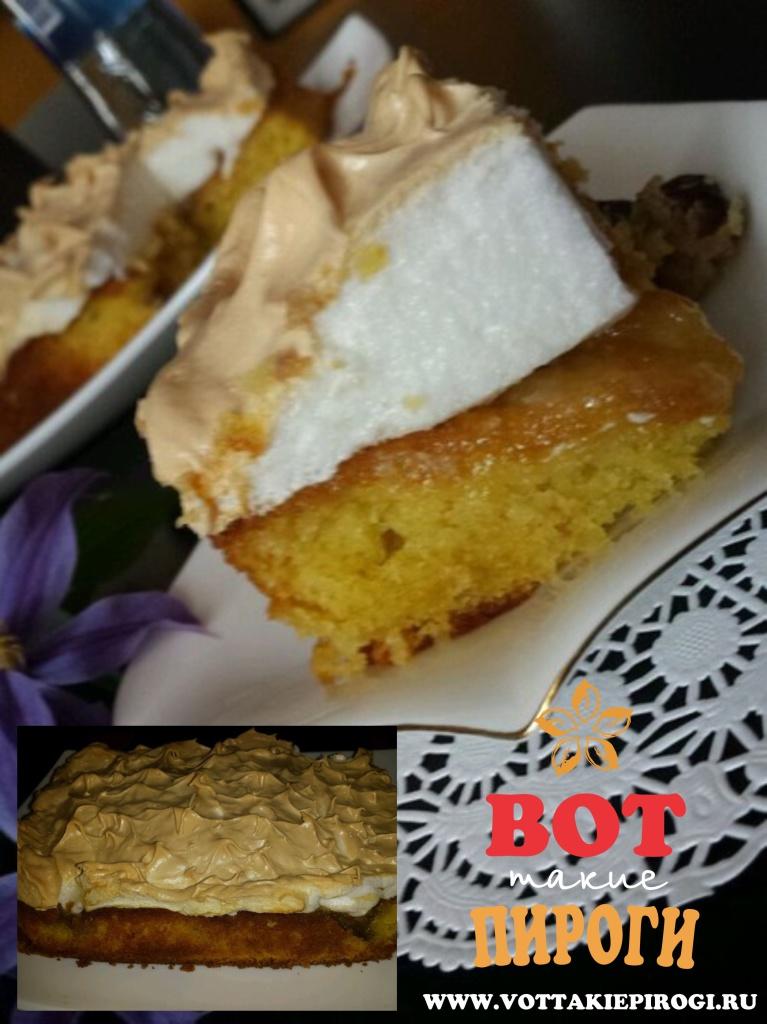 пирог со сливами и взбитыми белками