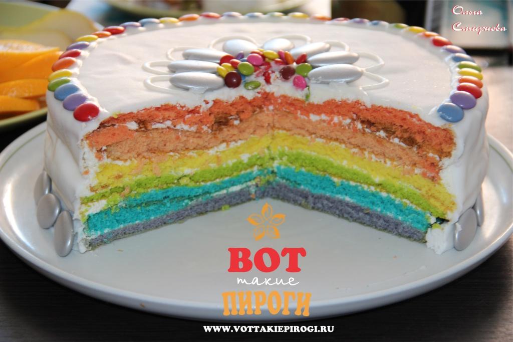 торт с цветными коржами рецепт с фото