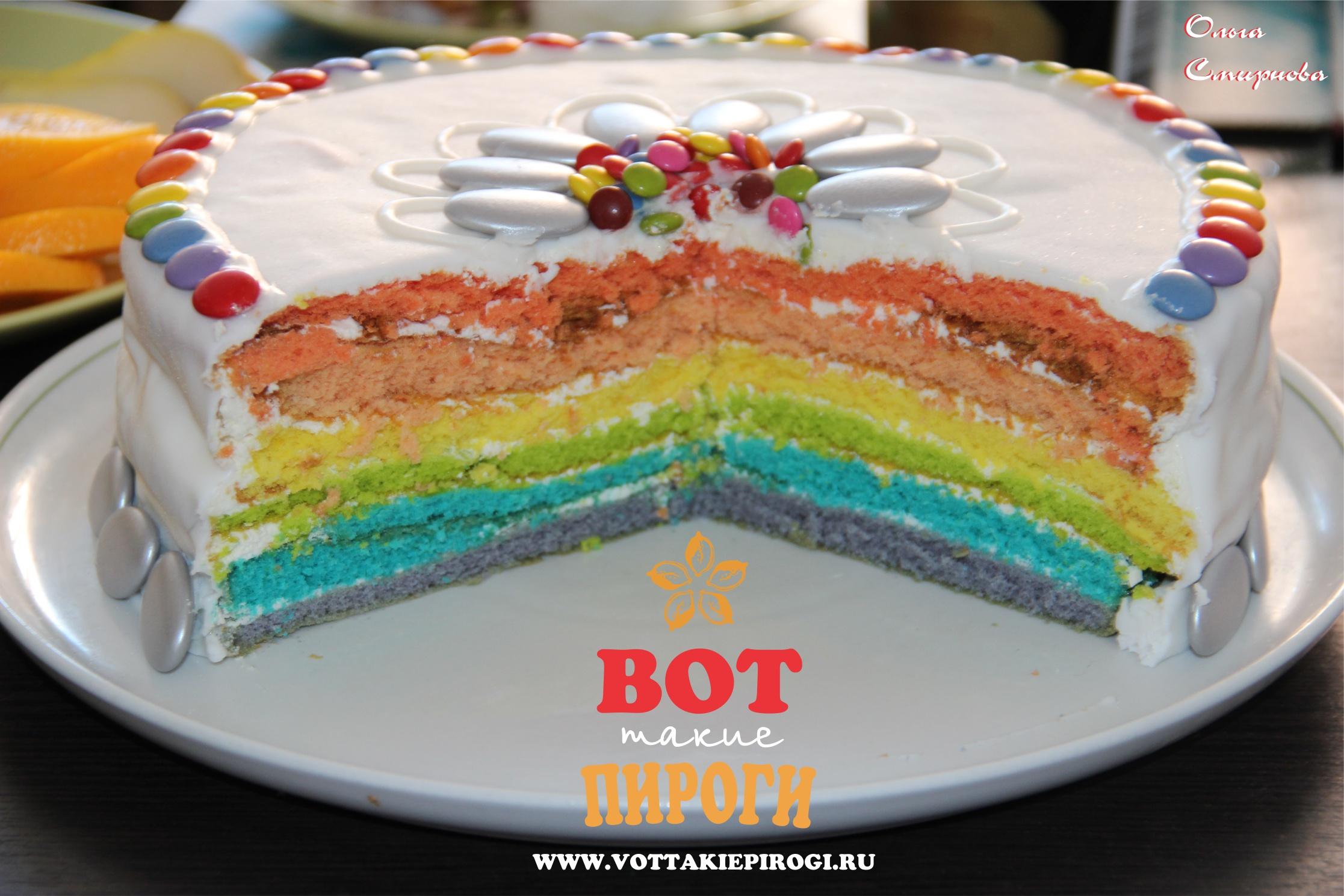 Как сделать коржи для разноцветного торта 418