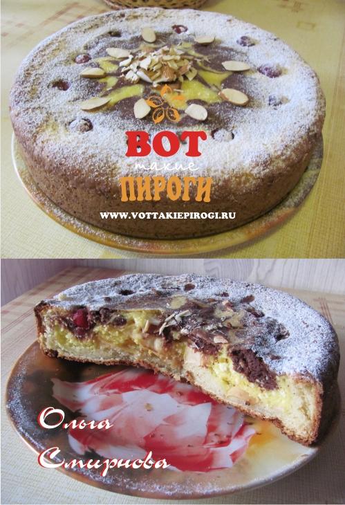Шоколадно -творожный мраморный пирог