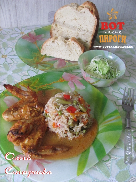 Гарнир рис с овощами  с куриными крылышками