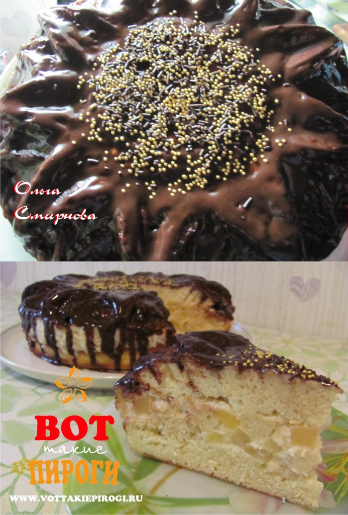 Торт шоколадный с ананасами