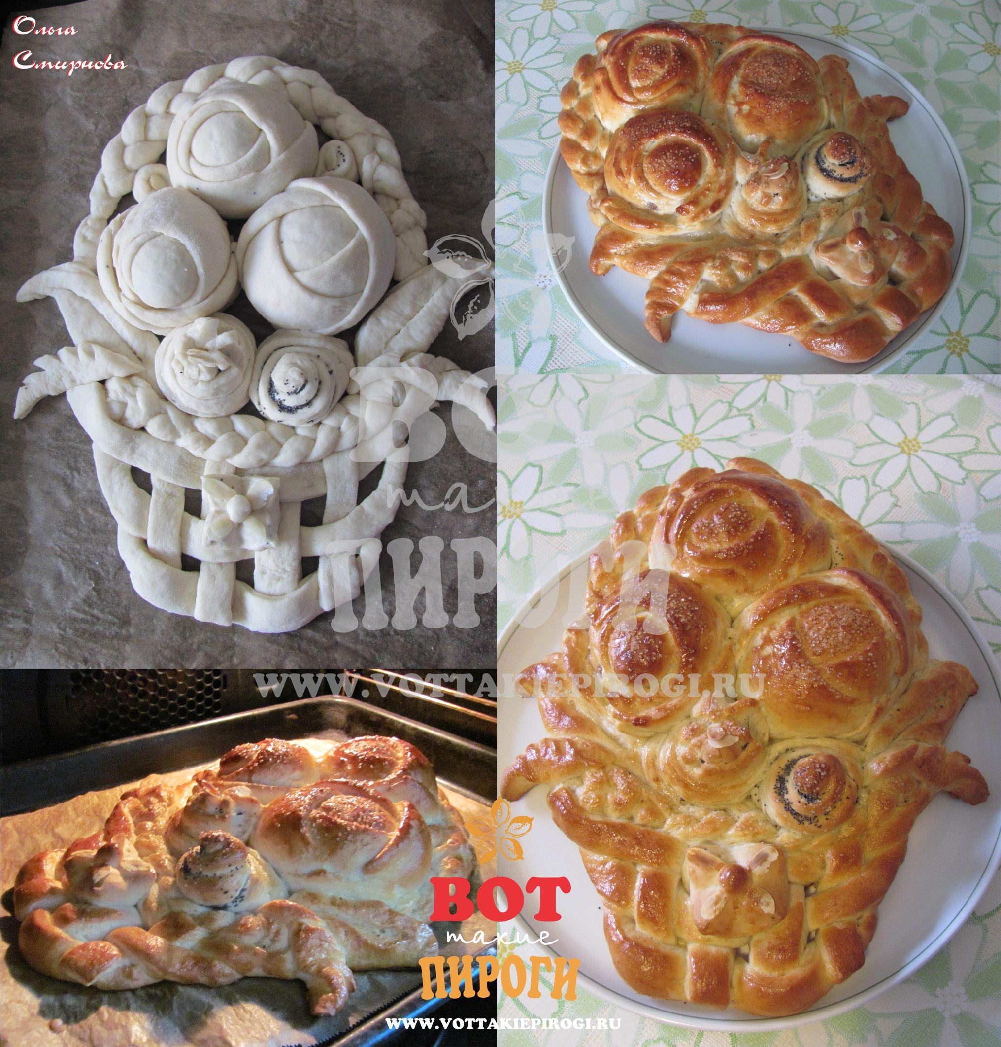 пирог корзина роз