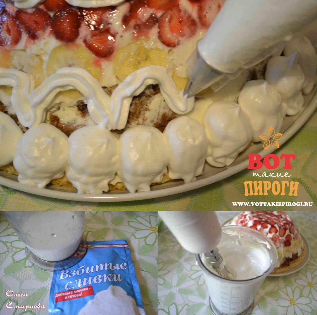 украшение торта взбитыми сливками