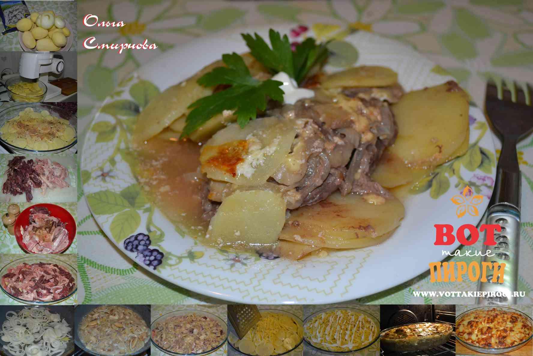 Мясо,запеченное с картофелем и грибами