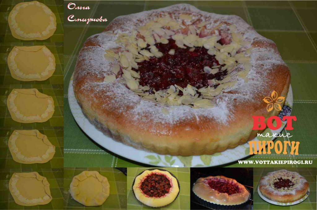 пирог с малиной и творогом